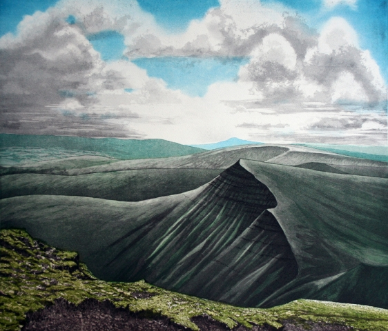 From Pen-y-Fan, looking over Cribyn to the Sugar Loaf